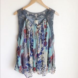 Next With Love Top Multicolor Gray Lace Size 12